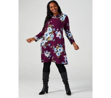 Printed Cosy Cowl Neck Trapeze Dress with Pockets by Nina Leonard