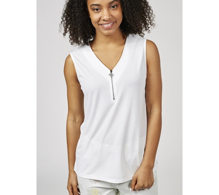 Sleeveless Crepe Jersey Top with Heart Zip by Michele Hope
