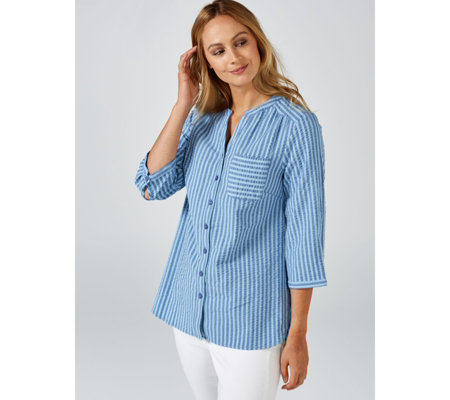 Denim & Co. Tonal Seersucker Stripe Y Neck Roll Tab Sleeves Shirt