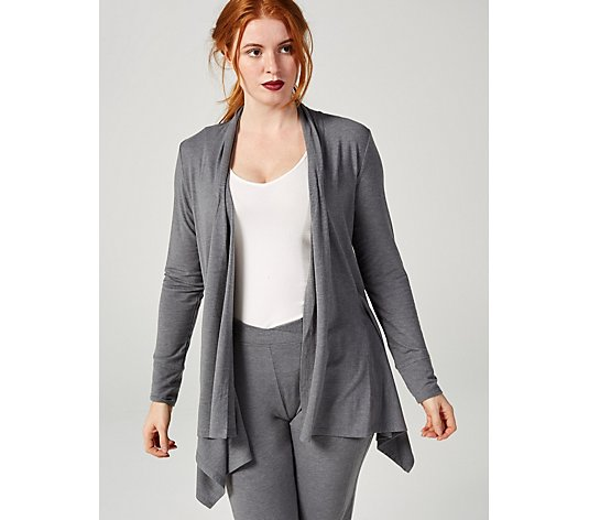 Cuddl Duds Brushed Knit Cascade Front Wrap Cardigan