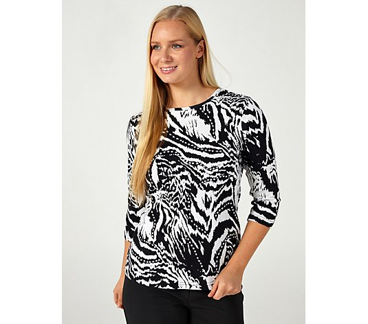 Artscapes Animal Print 3/4 Sleeve Crew Neck Top
