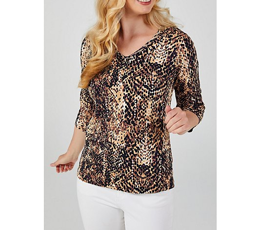 Outlet Artscapes Snake Skin Print Top with 3/4 Sleeves