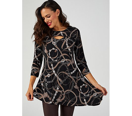 Attitudes by Renee Printed Como Jersey Keyhole Hi-Low Tunic