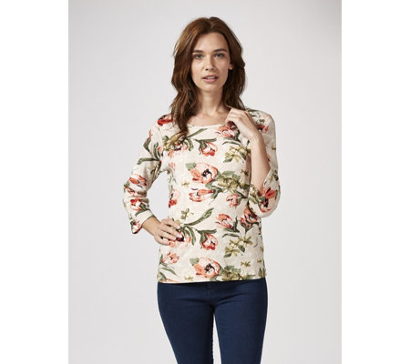 Artscapes Romantic Floral 3/4 Sleeve Scoop Neck Top