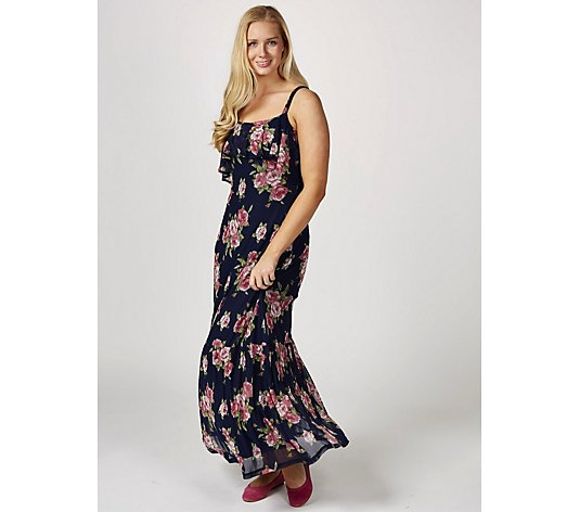 Printed Maxi Dress with Straps & Ruffle Detail by Nina Leonard