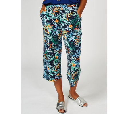 Kim & Co Tropical Story Brazil Knit Cropped Trouser with Pockets