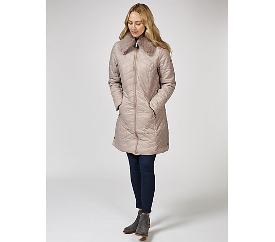 Centigrade Longline Quilted Coat with Faux Fur Trim
