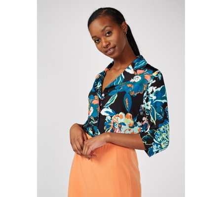 Floral Print Button Front Shirt by Michele Hope