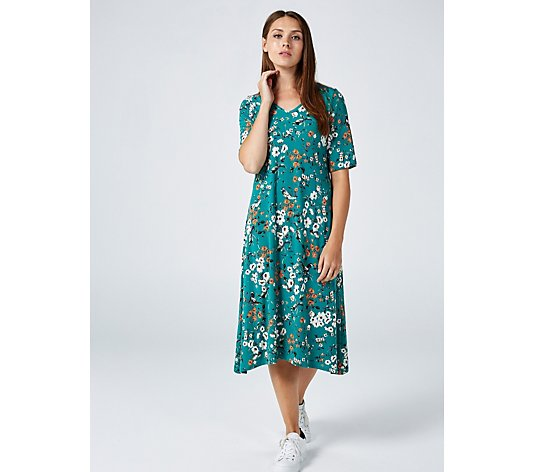 Kim & Co Birds Paradise Brazil Jersey Elbow Sleeve Swing Dress