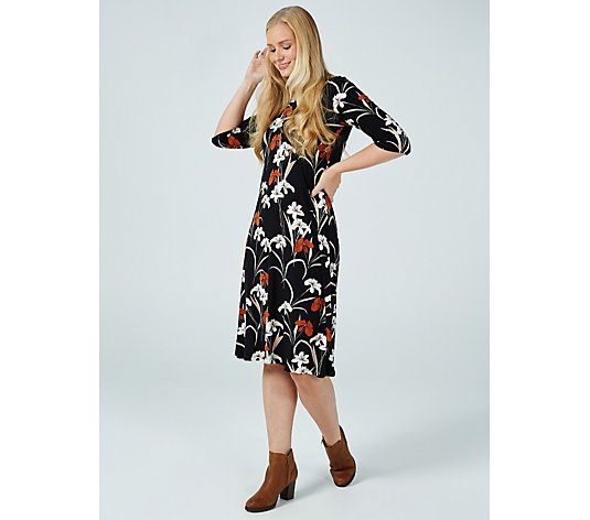 Kim & Co Printed Brushed Venechia 3/4 Sleeve Flared Dress