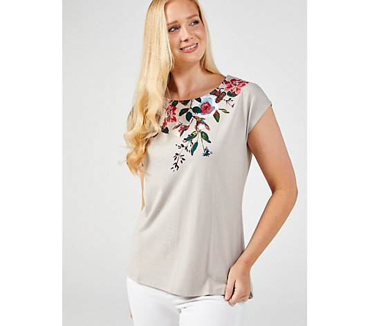 Denim & Co. Printed Jersey Round Neck Top with Curved Hem