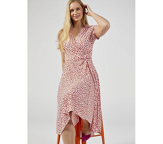 Perceptions Short Sleeve Print Dress with Waist Tie