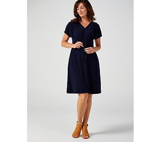 Dolman Sleeve V-Neck Dress with Tie at Waist by Nina Leonard