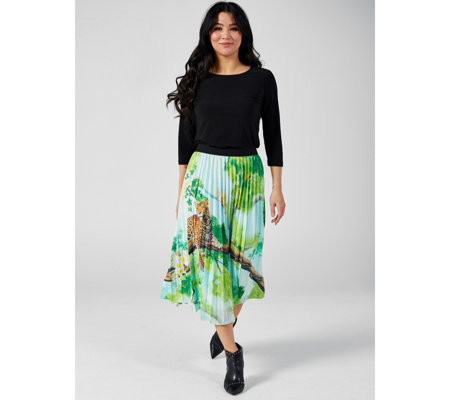 Antthony Designs Printed Pleated Skirt