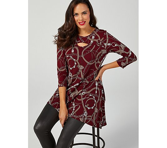 Attitudes by Renee Printed Como Jersey Keyhole Hi-Low Petite Tunic
