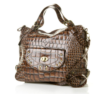 Charlie Lapson Two Tone Croco Leather Tote Bag With Front Pock