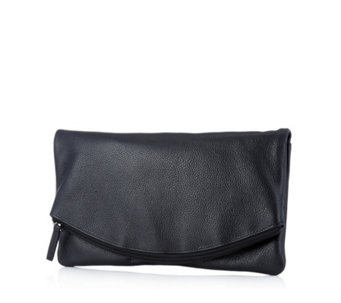 Amanda Lamb Soft Leather Foldover Clutch with Detatchable Crossbody Strap - 167369