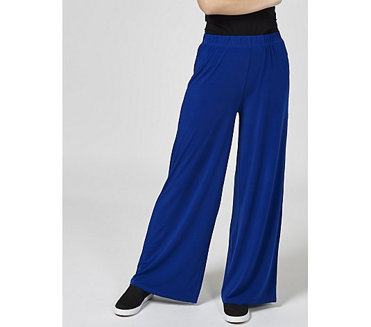 Palazzo Trousers with Elasticated Waist Petite by Michele Hope