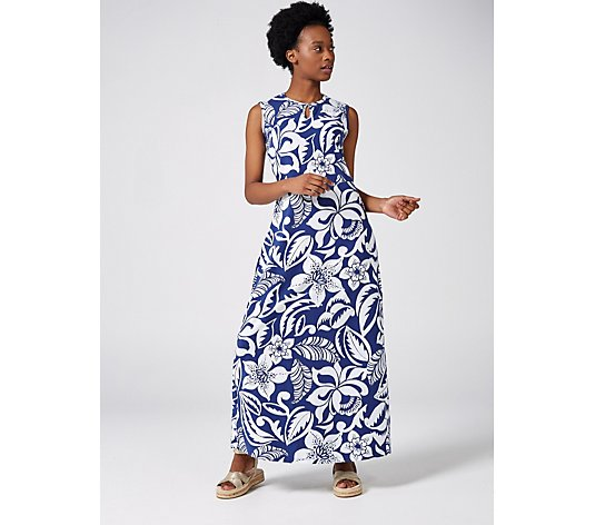 Denim & Co. Printed Jersey Maxi Dress with Keyhole Neckline