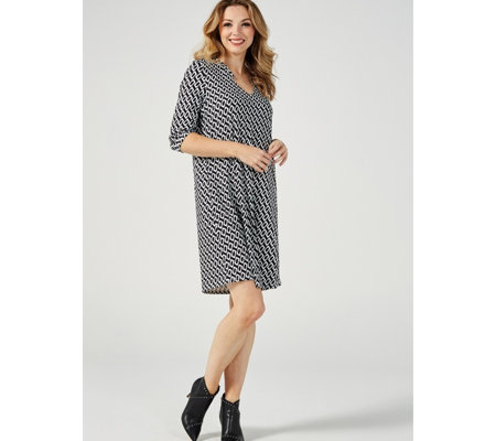 Together 3/4 Sleeve Printed Tunic Dress
