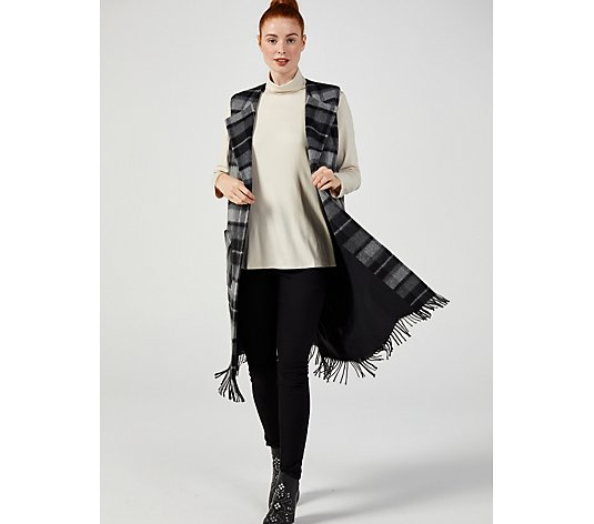 Helene Berman Edge to Edge Waistcoat with Fringed Hem