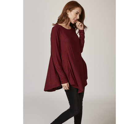 2f6563a2d146f Anybody Brushed Hacci Round Neck Swing Top - QVC UK