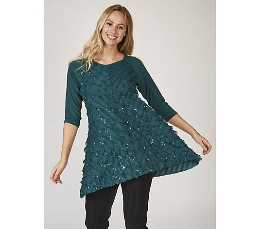 Antthony Designs 3/4 Sleeve Ruffle Front Tunic with Sequin Detail