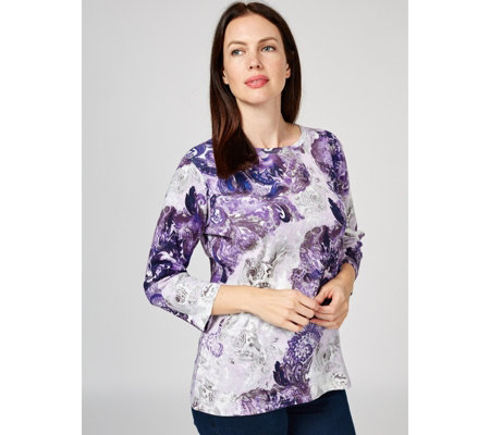 Artscapes Paisley Print 3/4 Sleeve Top