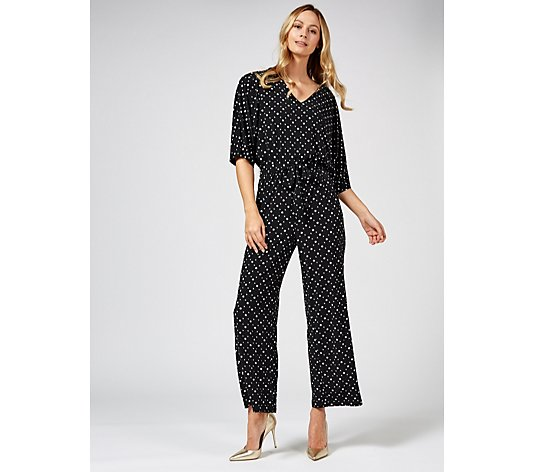 Outlet Dolman Sleeve Jumpsuit with Tie Belt Regular by Nina Leonard