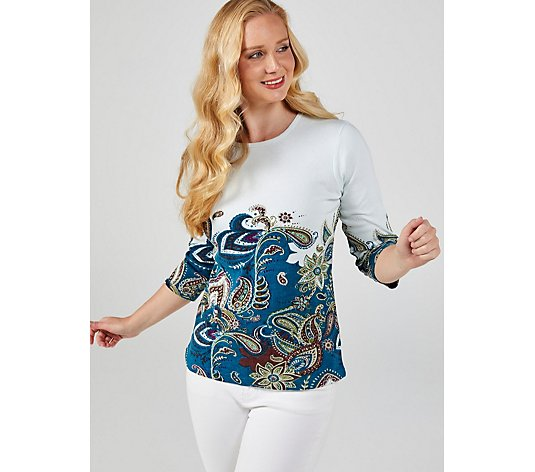 Artscapes Paisley Border Print Top with 3/4 Sleeves