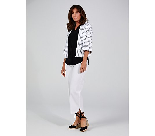 Isaac Mizrahi Live Stripe Kimono With Patch Pockets