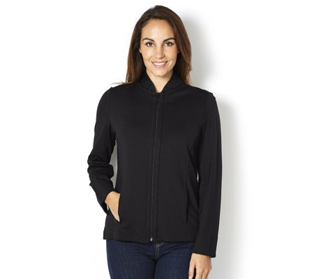 Ponte Knit Colourblock Zip Front Jacket by Susan Graver