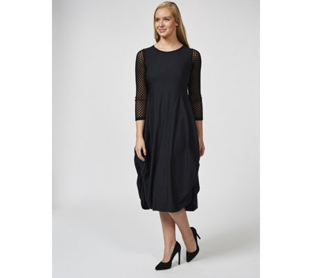 Yong Kim Dress with Mesh Diamond Velvet Sleeves