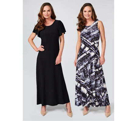 Attitudes by Renee Print & Plain Pack of 2 Maxi Dresses Regular Length