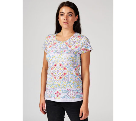 Artscapes Marrakech Medallion Print Scoop Neck Top