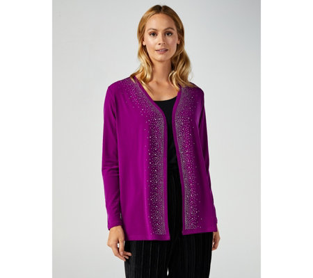 Edge to Edge Jersey Cardigan with Diamante Stud Detail by Michele Hope