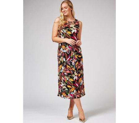 8e811bd1bc5b79 Coco Bianco Round Neck Printed Maxi Dress Regular - QVC UK