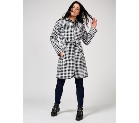 Isaac Mizrahi Live Gingham Trench Coat with Piping