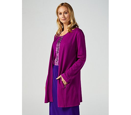 Long Length Knitted Cardigan with Zip Pockets by Michele Hope