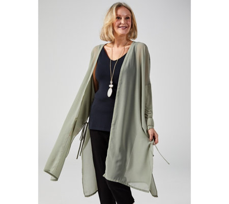 WynneLayers Mixed Media Cardigan Duster with Side Ties