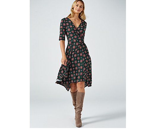 Perceptions Puff print  Elbow Sleeve Faux Wrap Dress