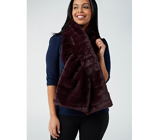 Centigrade Quilted Puffer Scarf with Faux Fur Reverse