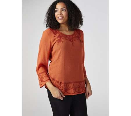Antthony Designs Embroidered Bracelet Sleeve Top