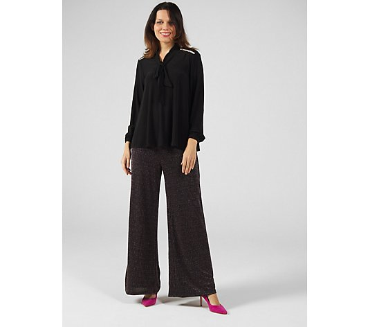Elasticated Knit Fully Lined Glitter Palazzo Regular Trouser by Nina Leonard