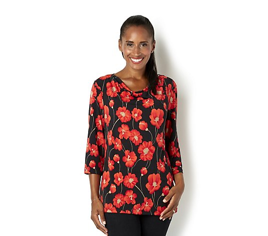 Outlet The Poppy Collection Brazil Jersey Top with Drape Neck by Kim & Co