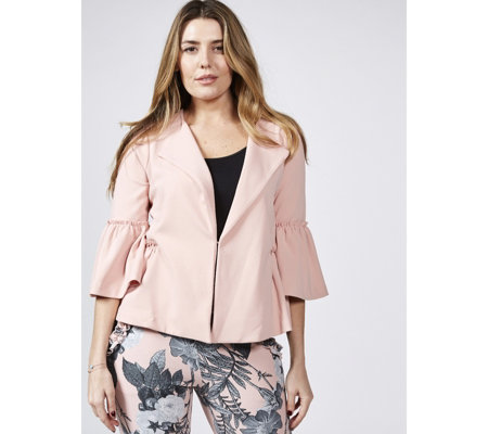 3/4 Bell Sleeve Collarless Jacket with Frill Sleeve Detail by Nina Leonard