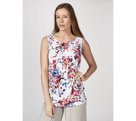 Kim & Co Floral Rhapsody Brazil Knit Ruched Neckline Sleeveless Top