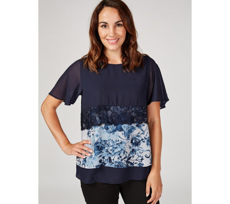 Together Double Layer Lace Detail Printed Top