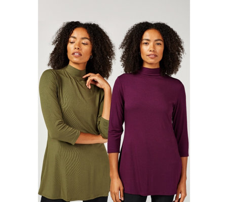 H by Halston Pack of 2 3/4 Sleeve Mock Neck Tunics