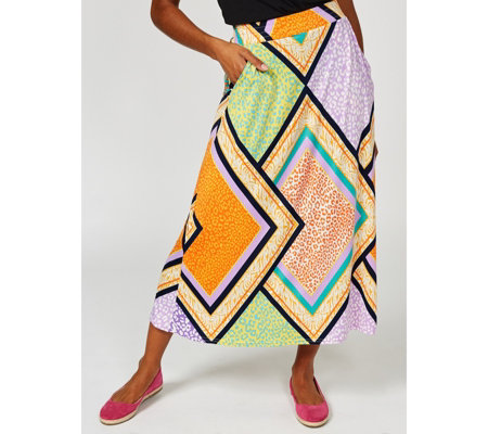 Olivia Printed Maxi Skirt with Pockets by Onjenu London